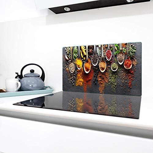 QTA | Herdabdeckplatten 90x52cm Ceranfeld Abdeckung Glas Spritzschutz Abdeckplatte Glasplatte Herd Ceranfeldabdeckung Bunt Gewürze