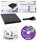 Pioneer 6x BDR-XD05B Ultra Lightweight External Blu-ray BDXL Burner, Cyberlink Software and USB Cable Bundle with 50pk CD-R Sony 700MB 48X White Inkjet Printable