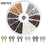 Coolrunner-600Pcs6-Colors-Small-Screw-Eye-Pins-Eye-pins-Hooks-Eyelets-Screw-Threaded-Silver-Clasps-Hooks-Eye-S