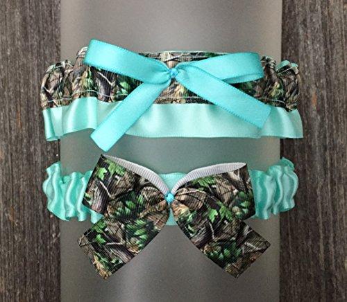 SEXY Camouflage & Aqua Blue Satin Bling Bridal Wedding Rhinestone Camo Garter -