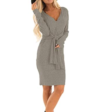 58da7ee8699 LUBITY Robe Pull Femme Sexy Manches Longues Col V Couleur Unie Taille Haute  Cravate Chic Tricot
