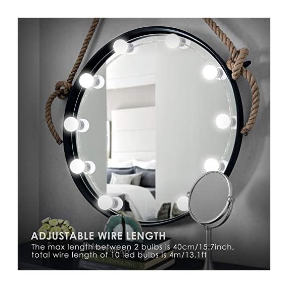 HAIRBY Hollywood Style LED Vanity Mirror Lights Kit with 10 Dimmable Bulbs 7000K Bright Plug in Vanity Light with 3M Stickers for Makeup Vanity Table Set in Dressing Room, 13.1ft, Mirror Not Included - Hairby plug in Hollywood lights produces a soft white glow with a 6,500-7,000K color temperature which is close to the daylight brightness, illuminates your entire face and is not dazzling, your eyes will not feel tired even applying makeup for long periods. Leave you a more natural makeup. Easy Installation, the Hollywood light fixture is supplied with sticky 3M double sides tape, the bulbs can be easily stuck onto the mirror, mirror frame or wall in a matter of few minutes, and then just plug in and power on, without electrical installation, better protect your furniture. Smart Touch Dimmer with Memory Function, adjust the brightness to your desired level by simply press the switch for seconds. You can easily enjoy your makeup without bothering others. - bathroom-lights, bathroom-fixtures-hardware, bathroom - 51Aa7T7aXIL. SS570  -
