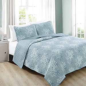 Home Fashion Designs 3-Piece Coastal Beach Theme Quilt Set with Shams. Soft All-Season Luxury Microfiber Reversible Bedspread and Coverlet. Fenwick Collection By Brand. (King, Ether Blue)