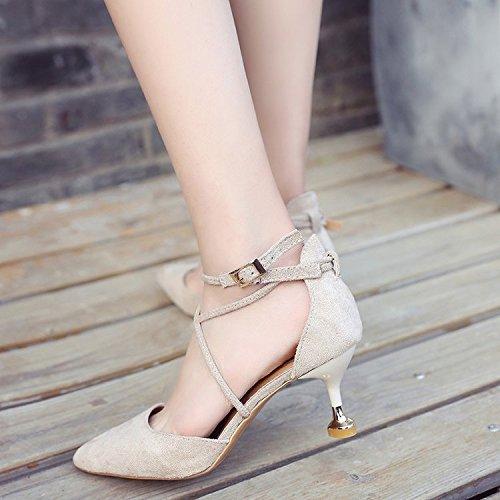 singola le beige femmina scarpe comfort singole cinturino cava fine con raso Bene trasversale con con 36 punta scarpe selvatico T5wOCnPxvq