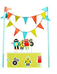 Colorful Funny Cartoon Robot Cake Garland Bunting Flag Toothpicks Toppers Wrap Sets Party Favors Supplie Baby Boy Shower Kids Children Toddler Birthday Party Decorations