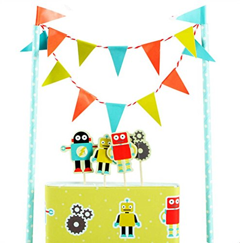 Robot Party Supplies (Colorful Funny Cartoon Robot Cake Garland Bunting Flag Toothpicks Toppers Wrap Sets Party Favors Supplie Baby Boy Shower Kids Children Toddler Birthday Party Decorations)