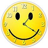 "Sugar Vine Art 12"" YELLOW SMILEY FACE CLOCK - Large 12 inch Wall Clock - Beach House Clock"