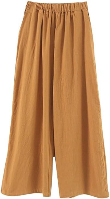 Mujer Color Solido Pantalones Elegantes Pantalon Sueltos Con Bolsillos Moda Cintura Alta Casual Anchos Pierna Pantalones Para Verano Talla Unica Amazon Es Ropa Y Accesorios