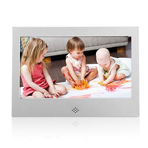 Celendi 7 Inch 800x480 High Resolution Digital Photo Frame With Auto On/Off Timer, MP3 and Video Player - Silver
