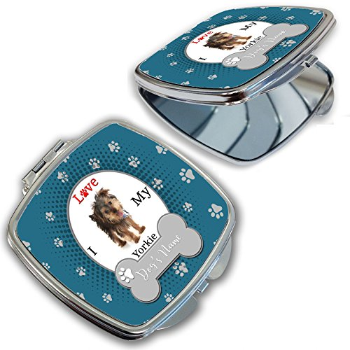 BleuReign(TM) Personalized Custom Name I Love My Dog Yorkie Compact Mirror - Custom Compact Mirrors
