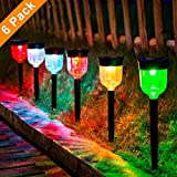 LED Solar Light Outdoor, SOMOKY 6 Packs Solar Pathway Lights with 7 Color Changing Waterproof IP65, Auto On/Off Outdoor Solar Landscape Lights/Pathway Lights for Lawn, Back Yard and Walkwa