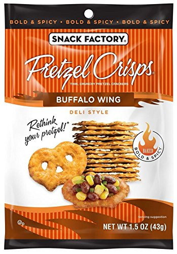Snack Factory Pretzel Crisps, Buffalo Wing, Single-Serve 1.5 Ounce (Pack of 24)