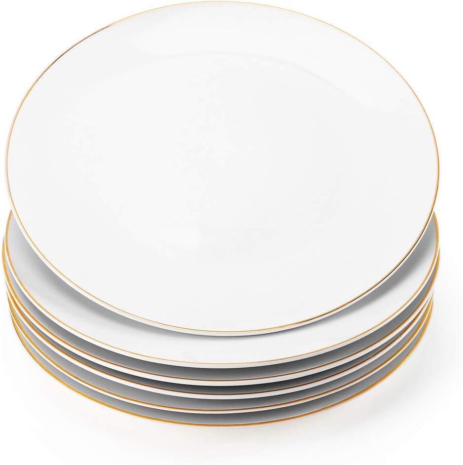 "Gsain 8"" Porcelain Appetizer Plates with Golden Rim, Ceramic White Round Dessert Serving Plate for Bread,Dessert,Snack,Salad and Finger Food (Set of 6)"