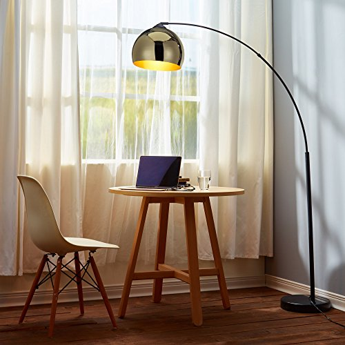 - Versanora VN-L00012 Arquer Arc Floor Lamp with Gold Shade and Black Marble Base Living Room Bedroom,