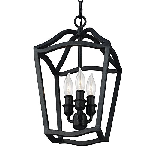 Feiss F2974/3AF Yarmouth Pendant Lighting, 3-Light, 180watts, Antique Forged Iron (9