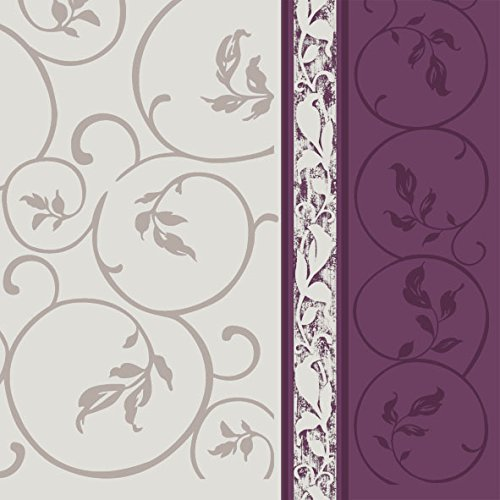 Dining Collection Decorative Pattern Paper Lunch Napkins - Plum Curlicue, 20 Count, 6.5 inch]()