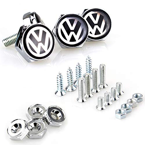 License Plate Frame Screw Bolts - Logo Cap Cover Metal Screw Bolts Nuts Anti-Theft Universal Car Truck Accessories fit for Volkswagen VW 4PCS/Set (Truck Volkswagen Bus)
