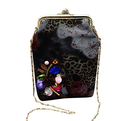 Anshinto Women Applique Leopard Small Wallet Hasp Purse Clutch Bag Phone Bag (Applique Clutch)