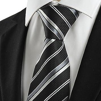 FYios®Nuevo gris rayas negro hombres Formal clásica corbata de ...