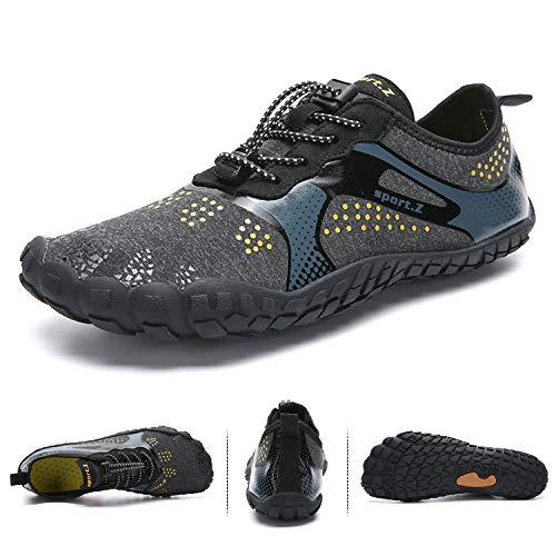 Hmiya Antiscivolo Traspirante grey Swim Shoes Uomo Surf Yoga Barefoot Scarpe Canottaggio Da Spiaggia Running Immersione Acqua Donna Trail Water Black rrzq8wA