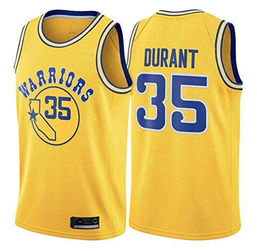 YDD Men's Jersey - NBA Warriors 35# Durant Embroidered Mesh Basketball Swingman Jersey Stitched Letters and Numbers,Yellow,XL(85~95kg)