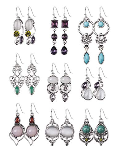 FIBO STEEL 9 Pairs Drop Dangle Earrings for Women Girls Vintage Turquoise Charm Hook Earrings Jewelry Set