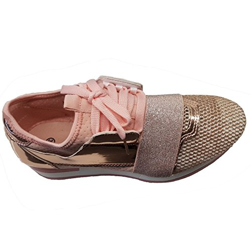 Fantasia Boutique Ladies Glitter Metallic Breathable Lace Up Walking Gym Fashion Trainers Sneakers Pink