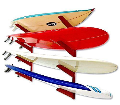 Timber Surfboard Wall Rack - Holds 4 Surfboards - Wood Home Storage Mount System