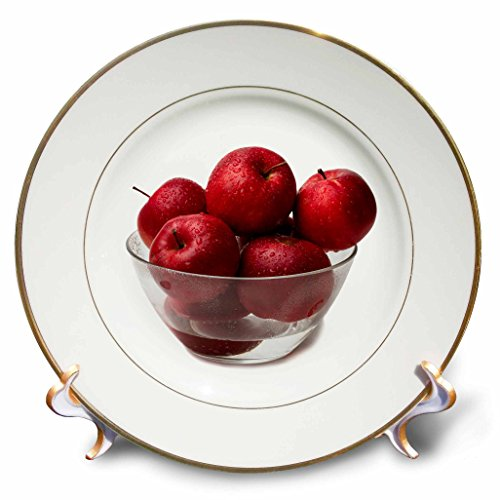 3dRose Alexis Photography - Food Apple - Wet red apple fruits in a glass bowl, white background - 8 inch Porcelain Plate (cp_281188_1)