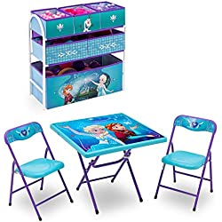 Disney Frozen Playroom Solution Set (Table & Chair Set + Metal Multi-Bin Toy Organizer)