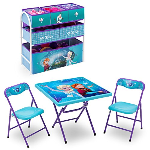 Set Desk Chair (Disney Frozen Playroom Solution Set (Table & Chair Set + Metal Multi-Bin Toy Organizer))