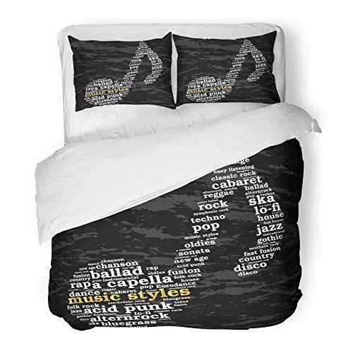 Emvency Bedding Duvet Cover Set Twin (1 Duvet Cover + 1 Pillowcase) Acapella Music Styles Word Cloud Musical Notes Grunge Variety of Acid Age Alternrock Hotel Quality Wrinkle and Stain Resistant -
