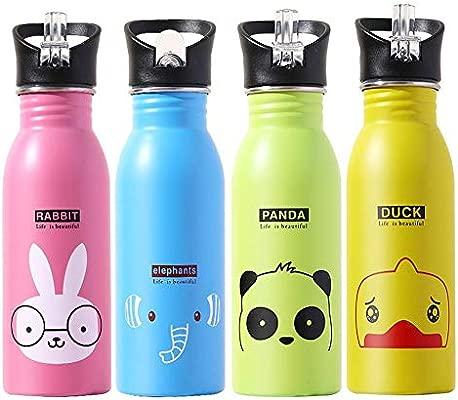 Botella De Agua De Acero Inoxidable 500ML, Botella Sin Bpa & Eco Friendly, Botellas Animal Lindo Reutilizable Para Niños, Adecuada Para Viaje, ...