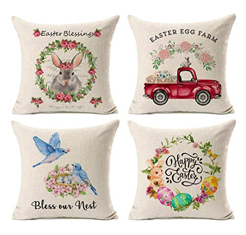 Kithomer Set of 4 Happy Easter Rabbit Egg Throw Pillow Cover Farmhouse Decor Watercolor Truck Cushion Case Spring Home Decoration Cotton Linen 18 x 18 Inch
