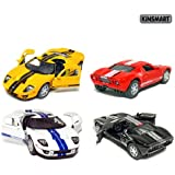 """Set of 4: 5"""" 2006 Ford GT Sport Car 1:36 Scale (Black/Red/White/Yellow) by Kinsmart"""