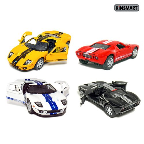set-of-4-5-2006-ford-gt-sport-car-136-scale-black-red-white-yellow-by-kinsmart