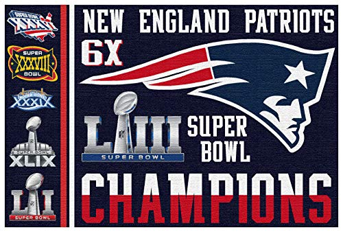FanaticFan4Life New England Patriots Super Bowl Flag - Super Bowl 53, Pats Nation, 3x5 Flag, Banner, Champions 5 Time Champions Collectible Football