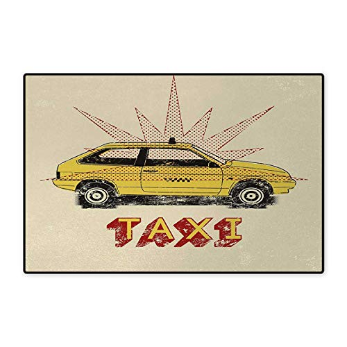 Retro,Bath Mat,Pop Art Style Old Fashioned Taxi Cab with Grunge Effects Vintage Car Graphic,Doormat Outside,Beige Yellow Ruby ()