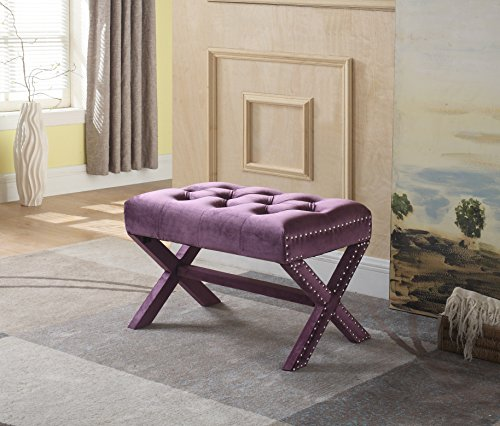Iconic Home Keila Updated Neo Traditional Polished Nailhead Tufted Velvet X Ottoman, Plum