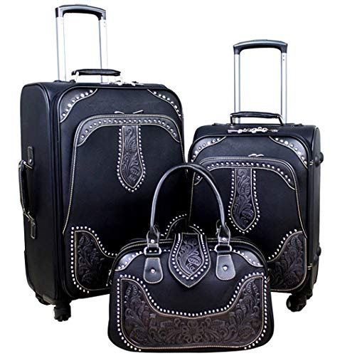 Montana West Tooled Leather Collection 3 PC Luggage Set- black (Tooled Leather Luggage)