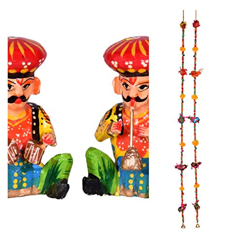 Indian Handmade home Decor Combo - door/wall hangings - cloth birds with colourful wooden beads, brass bell And set of 2 musicians show piece - Total 2 pairs