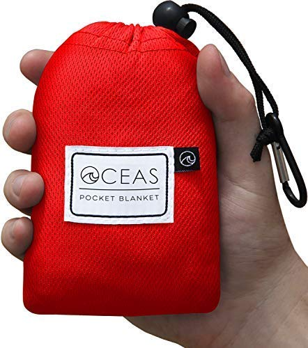 Oceas Outdoor Waterproof Pocket Blanket - Lightweight Mat with Attached Ground Stakes and Sand Pockets - for Camping Hiking Picnic and Beach Trips - Mini Bag Clips onto Backpack for Easy Travel