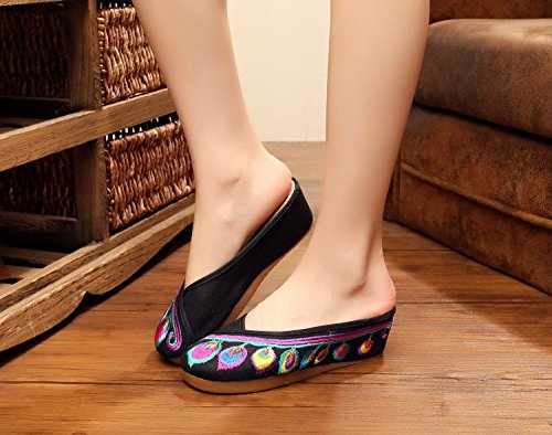 Women 5cm Feather Casual Slippers Canvas Shoes Embroidered Sandals Black Wedges 6OB6aqw