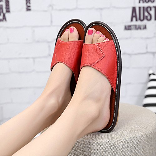Smelly Pourpre Wooden Corium Anti Cowhide Women Summer Floor Autumn Men for TELLW Spring W Leather Slippers TaHqq0Z