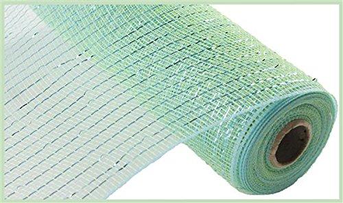 Aquamarine Ribbon - 10 inch x 30 feet Deco Poly Mesh Ribbon - Metallic Aquamarine