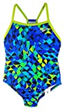Speedo Big Girls' Youth Solid Splice Back One-Piece Swimsuit (5, Blue Geo)