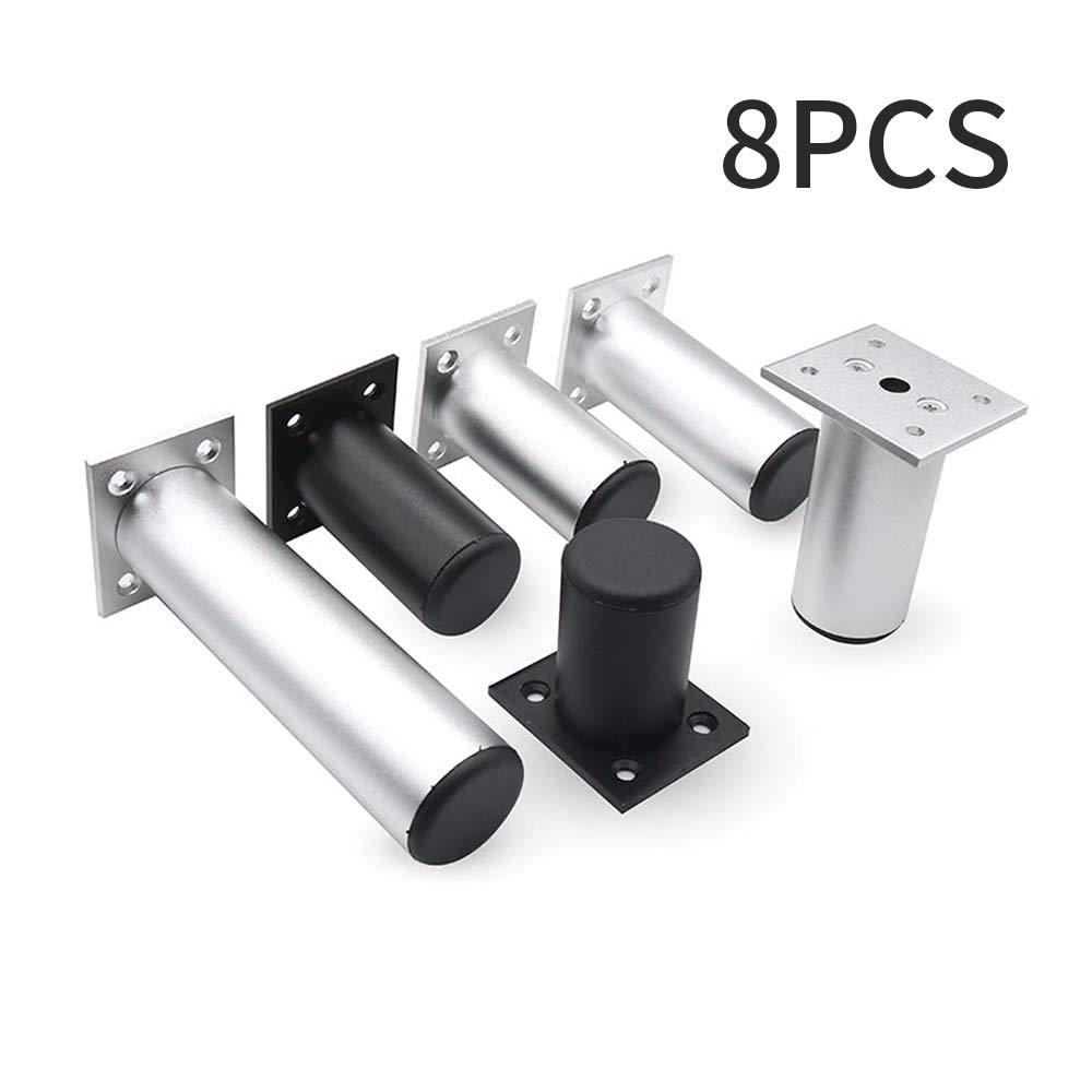 paquete de 8 patas de aleaci/ón de aluminio ajustable 32 tornillos Patas de metal para muebles