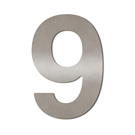 Gro/ße Thorwa/® Design Edelstahl Hausnummer Montagematerial//H: 200mm // Farbe: silber 2 inkl fein geb/ürstet