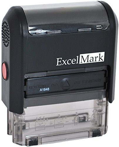 Self Inking Rubber Stamp with up To 4 Lines of Custom Text (Custom Rubber Stamp Blue Ink)