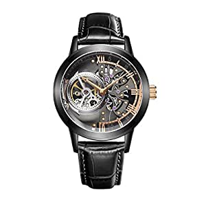 OBLVLO Skeleton Mens Watches Black Steel Automatic Watches Leather Strap Tourbillon Watch OBL8238 (NOBL8238-BBBG)